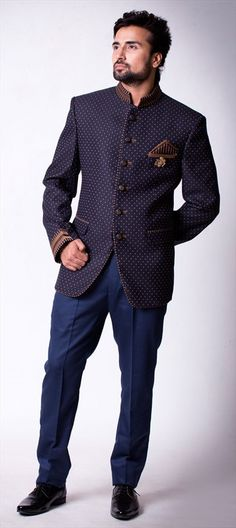 503740 Blue, Purple and Violet  color family Jodhpuri Suit in Imported fabric with Broches work .