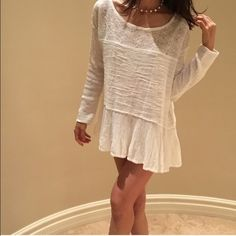 """$128 brand new free people Brand new, size L , length 26"""" bust 46"""" color : baby angel white, model size 4-6 model height 5'7"""" Free People Dresses Mini"""