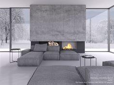 Render Test on Behance Home Room Design, Dream Home Design, Home Interior Design, Interior Architecture, Living Room Designs, House Design, Living Room Interior, Home Living Room, Contemporary Fireplace Designs