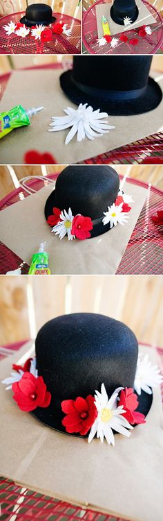 DIY Mary Poppins Hat tutorial for Halloween Disney Halloween, Halloween Outfits, Costume Halloween, Halloween 2015, Holidays Halloween, Halloween Crafts, Halloween Party, Halloween Costumes Mary Poppins, Mary Poppins Halloween Costume