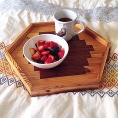 hexagon tray for the coffee table. the lighter color wood