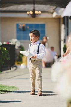 Ring bearer Blush pink tie and navy suspenders