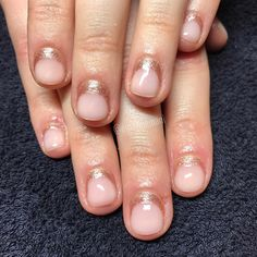 rose gold glitter half moons with blush pink polish - simple yet so pretty for shorter nails