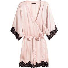 H&M Satin kimono ($29) ❤ liked on Polyvore featuring intimates, robes, lingerie, pajamas, sleepwear, light pink, short sleeve robe, kimono bath robe, dressing gown and satin bathrobes