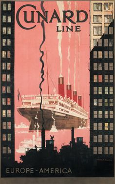 Cunard Line Europe America by Shoesmith, Kenneth, Circa 1925.