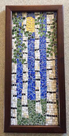 Mosaic birch trees in summer