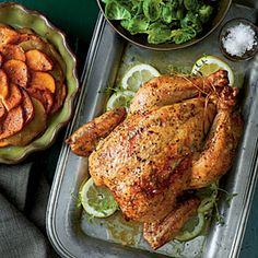 Comforting Roast Chicken with Sweet Potatoes and Apples is just the entree for feeding a hungry crowd. One large to bird or two smaller ones will satisfy your gang.Preheat oven to Grate 2 tsp. Potato And Apple Recipe, Sweet Potato And Apple, Apple Recipes, Fall Recipes, Turkey Recipes, Turkey Dishes, Holiday Recipes, Roast Chicken Recipes, Roasted Chicken