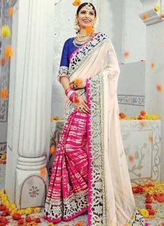 Off White Magenta Embroidery Work Banarasi Silk Georgette Designer Half Sarees   #Wedding #Bridal #designer #Saree       http://www.angelnx.com/Sarees