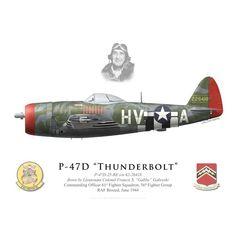 "P-47D Thunderbolt, Lt. Col. ""Gabby"" Gabreski, 61st FS, 56th FG, juin 1944 - Bravo Bravo Aviation"