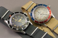 """Steinhart Vintage line watches - Ocean 1 diver & Dual Time GMT automatics.  Stainless Steel; 300m rating & lightened with G10 """"NATO"""" style nylon straps."""