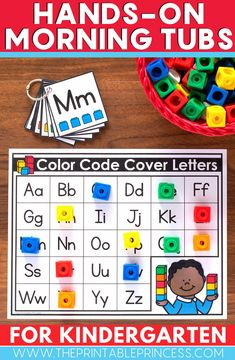 These beginning the year word work centers are great to use when introducing letter names and letter sounds. Students can match upper and lowercase letters and use their fine motor skills to move manipulatives you already have in the classroom. Print and laminate them and add them to your literacy centers!