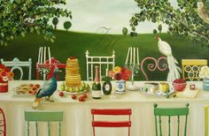 Lady Gertrude's Decadent Brunch With Flora And by janethillstudio, $25.00