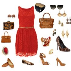 Lady in Red, created by doorite on Polyvore//  necklaces to match earrings