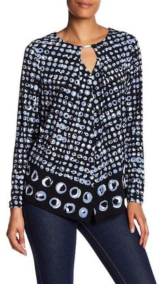 6b7f2f6609f Jones New York Pullover Keyhole Patterned Blouse. Machine wash polyester,  elastane Crew neck with keyhole Long sleeves Slips on over head Allover  print ...