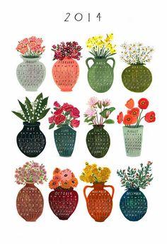 becca stadtlander illustration: Etsy News: Calendar & Cards #painting #creative #2014 #flowers