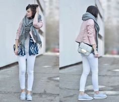 Read all of the posts by fresshion on fresshion Baby Blue Shoes, Light Colors, Colours, Pink Jacket, Pink Grey, My Outfit, White Jeans, Street Style, My Style