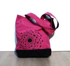 Purple fuchsia black tote bag handmade hand painted dandelion (23.00 EUR) by Fantasiedipietra