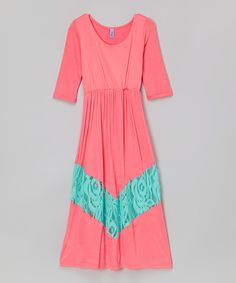 Another great find on #zulily! Coral & Mint Lace Maxi Dress - Toddler & Girls by Maya Fashion #zulilyfinds