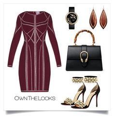 """""""#christmasoutfit"""" by chloepop on Polyvore featuring Hervé Léger, Christian Louboutin, Gucci, Mark Davis, Christmas, outfit and red"""