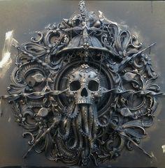 - Cthulhu sculpture by Cam Rackam