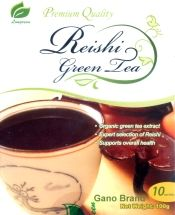 Reishi Green Tea (Made In USA). is the perfect choice to start your busy morning or reenergize a long afternoon. You will feel fresh and revitalized with each sip. Serve hot or cold. Non-tea-bag. 10 individual instant powder servings.
