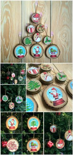 This hand-painted wood slice ornaments will be unique and original decor for your Christmas tree. Hand-painted with acrylic on the natural wood slices. (via varnish)