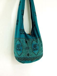 Handmade Cotton Elephant Printed bag Hippie bag Hobo bag Boho bag Shoulder bag Sling bag Messenger bag Tote bag Crossbody Purse -Green Teal on Etsy, $8.98