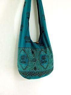 Handmade Cotton Elephant Printed bag Hippie bag Hobo bag Boho bag Shoulder bag Sling bag Messenger bag Tote bag Crossbody Purse -Green Teal on Etsy, $8.98