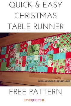 Quick and Easy #Christmas Table Runner #quilt #tutorial by @sameliasmum