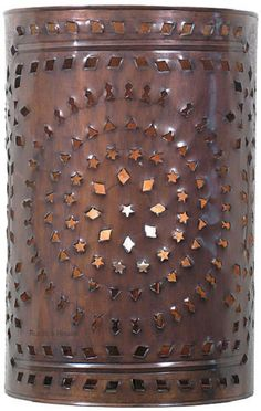 Brand new custom lanterns, colonial chandeliers & punched tin lamps from Mexico. Tin Wall Lamp by Rustica House. Tin Can Crafts, Metal Crafts, Aluminum Crafts, Punched Tin Patterns, Primitive Lighting, Tin Walls, Christmas Lanterns, Copper Art, Wall Patterns