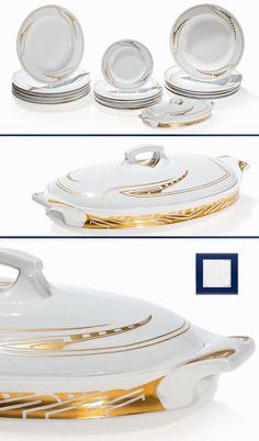 HENRY VAN DE VELDE 'Whiplash' 18-piece porcelain dinner service, manufactured by Meissen. Designed in 1903 and manufactured until 1923. Impressed artist's cypher.  |  SOLD 18,570 EUR