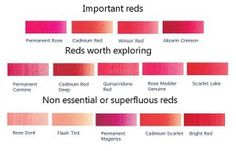Best Red Pigments for Painting - science of colour Color Mixing Chart, Color Charts, Mixing Colours, Tertiary Color, Happy Little Trees, Winsor And Newton Watercolor, Red Pigment, Back To School Party, Color Harmony