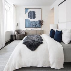 The navy and gray combo make this bedroom look calming and comfortable. - The navy and gray combo make this bedroom look calming and comfortable. Cozy Bedroom, Bedroom Inspo, Dream Bedroom, Home Decor Bedroom, Master Bedroom, Bedroom Ideas, Master Suite, Large Bedroom, White Bedroom