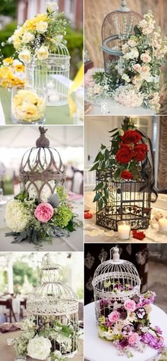 30 Birdcage Wedding Ideas to Make Your Wedding Stand Out Super Vintage Birdcage Inspired Wedding Centerpieces Ideas for Country Weddings. Bird Cage Centerpiece, Wedding Table Centerpieces, Wedding Decorations, Table Decorations, Centerpiece Ideas, Vintage Centerpieces, Centerpiece Flowers, Wedding Lanterns, Birdcage Centerpiece Wedding