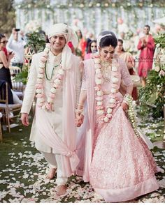 Do you think Only Red Lehenga is for Brides ? Gorgeous brides show how to rock your wedding in a Pink Bridal Lehenga. Indian Bridal Outfits, Indian Bridal Lehenga, Indian Bridal Wear, Bridal Dresses, Groom Outfit, Groom Dress, Anarkali, Lehenga Choli, Pink Lehenga