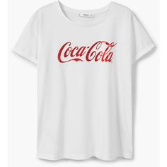 MANGO Coca-Cola T-Shirt ($26) ❤ liked on Polyvore featuring tops, t-shirts, short sleeve tops, print top, mango tee, mango tops and mango t shirt