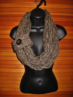 SALE Chunky Chocolate Infinity Scarf with by TheLittleBarntique