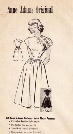 Junior Miss Dress Vintage Sewing Pattern, Mail Order Anne Adams 4722 bust uncut. via Etsy. Fashion Moda, 1940s Fashion, Fashion Sewing, Vintage Fashion, 50 Fashion, Fashion Styles, Vintage Dress Patterns, Clothing Patterns, Vintage Dresses