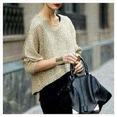Black leather bag with gold knit top  @mariaandamelia's Instagram photos   Webstagram - the best Instagram viewer