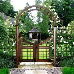 ways to create the perfect country garden What a pretty scene with a arbour and gateway entrance to the garden . even a lovely gazebo in the gardenWhat a pretty scene with a arbour and gateway entrance to the garden . even a lovely gazebo in the garden Garden Entrance, Garden Arches, Garden Doors, Tor Design, Fence Design, Garden Gates And Fencing, Garden Arbor With Gate, Arbor Gate, Unique Garden