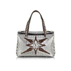 Roberto Cavalli Handbags Regina Silver Embossed Croco Leather Handbag... ($1,340) ❤ liked on Polyvore