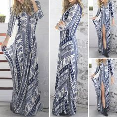 V Neck Sexy Split Chiffon Maxi Dresses Hot Sale Long Sleeve Vintage Print Blue and White Porcelain Casual Beach Dress