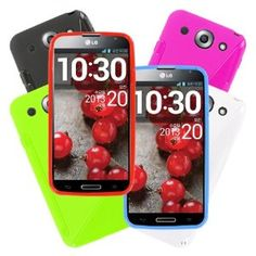 MPERO Collection 6 Pack of Flexible S-Shape Cases for LG Optimus G Pro - Black, White, Light Blue, Red, Hot Pink, Neon Green