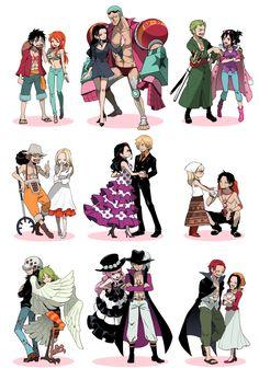Luffy X Nami, Robin X Franky, Zoro X Tashigi, Usoop X Kaya, Sanji X Violet/Viola, Ace X ???, Law X Monet, Perona X Mihawk and Shanks and I forgot her name....