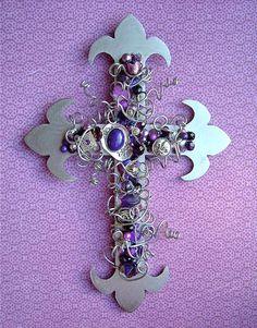 Silver Steel Amethyst Fleur de lys Wall Cross with Purple Embellishments..on Etsy