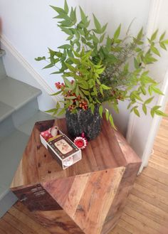 Dodecahedron raw wood side table