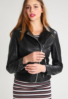 Vila VIELLAS - Leather jacket - black for with free delivery at Zalando Biker Chic, Lambskin Leather, Lace Tops, Leggings Fashion, Skinny Fit, Clubwear, Jackets For Women, Long Sleeve, How To Wear