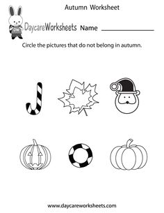 Preschoolers have to circle the pictures that do not belong in autumn in this free seasonal worksheet.