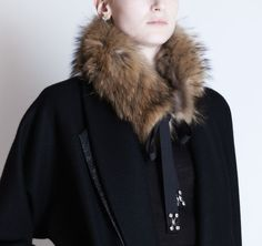 Michel Klein Fur Collar made with marmot fur and Swarovski crystals #luxury #modewalk