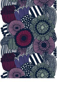 Marimekko Co Siirtolapuutarha black/purple Maija Louekari Purple Hues, Shades Of Purple, Chrome Nails Designs, Nail Designs, Marimekko Fabric, Types Of Curtains, Bright Decor, Neutral Color Scheme, Rod Pocket Curtains